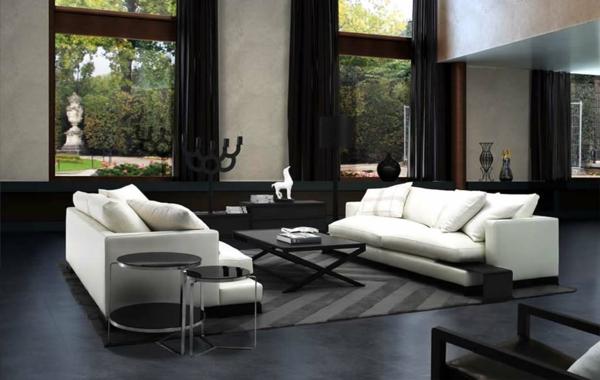 intérieur-de-la-maison-contemporaine-canapé-en-blanc-sol-noir