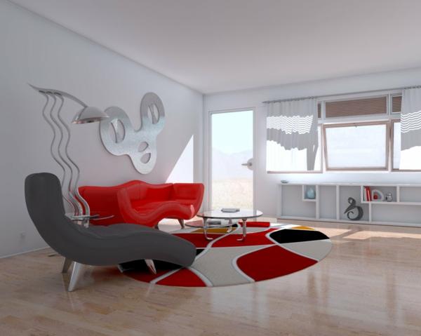 intérieur-de-la-maison-contemporaine-fauteuilles-uniques-gris-et-rouge-avec-un-décoration-avec-miroire