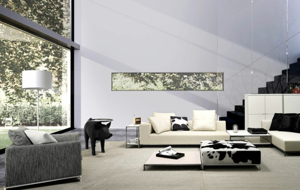 interior-unique-rounded-glazed-table-with-pig-combination-for-feet-in-black-and-white-living-room-with-animal-print-interior-fascinating-home-interior-decor-with-cozy-nuanc-