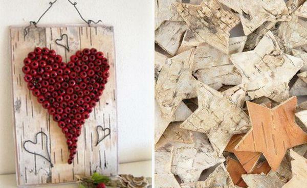 jolie-DIY-idée-de-décoration-avec-un-coer-de-plante-et-des-étoiles-du-bois-naturel