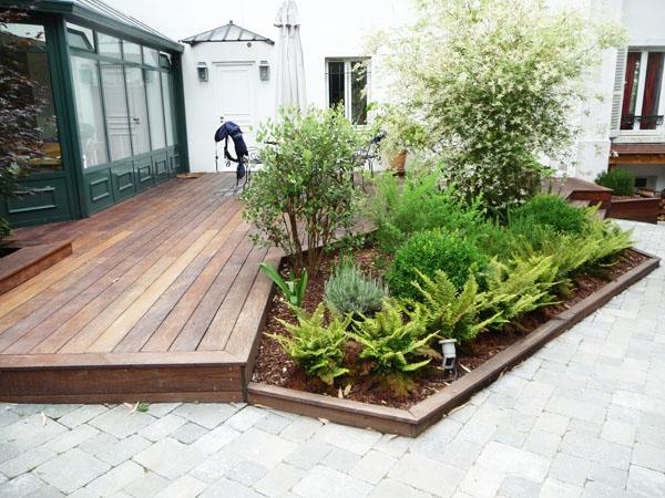 L 39 am nagement de terrasse avec un sol du bois for Jardin et plantation