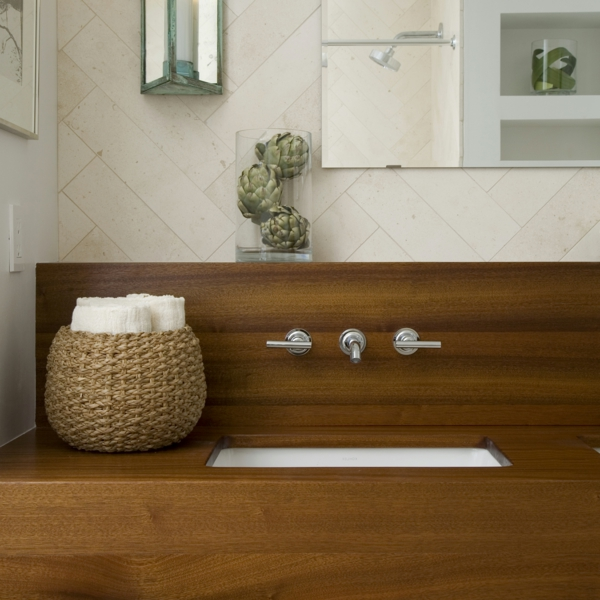 La d co de salle de bain en bois 107 photos for Meuble salle de bain original