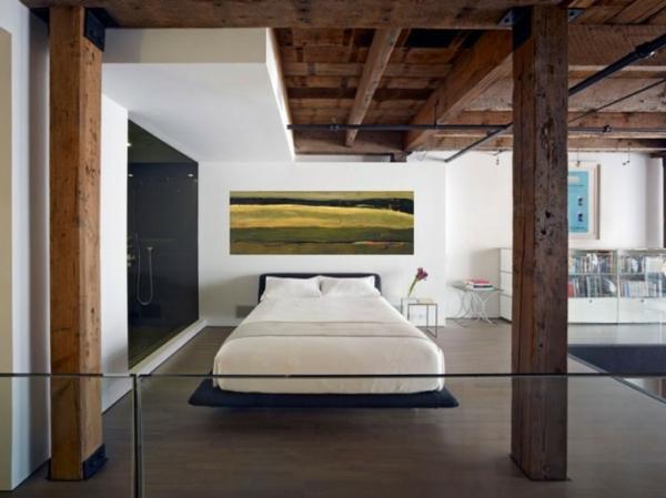 peinture-abstraite-chambre-à-coucher-intérieur-loft