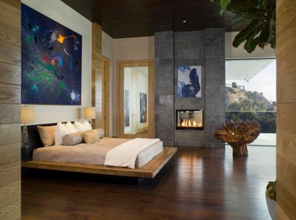 peinture-abstraite-chambre-à-coucher-moderne