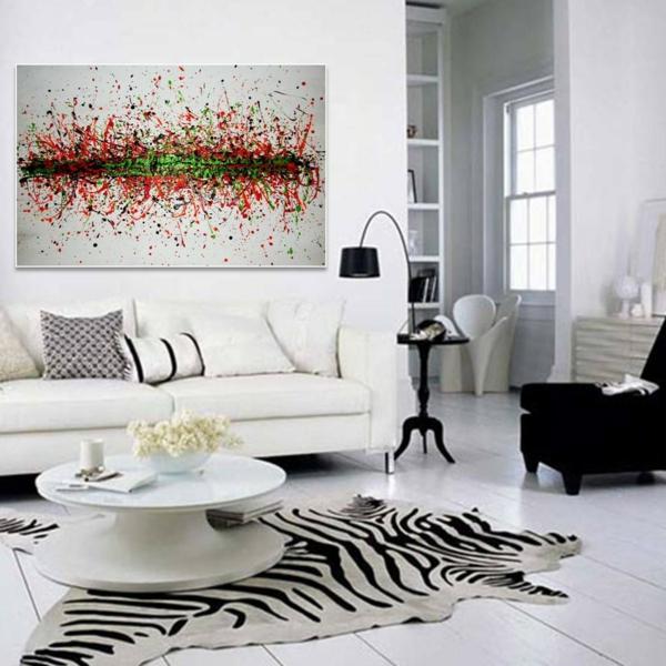 peinture-abstraite-chambre-blanche-et-fauteuil-noir
