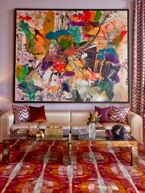 La peinture abstraite dans l 39 int rieur contemporain - Photo d art grand format ...