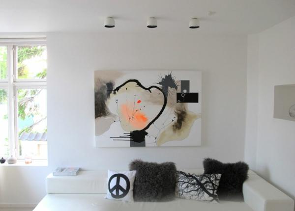 peinture-abstraite-et-coussins-décoratifs