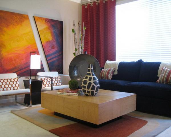 peinture-abstraite-grande-table-rectangulaire-en-bois