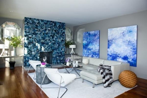 peinture-abstraite-peintures-bleues-dans-une-salle-de-séjour