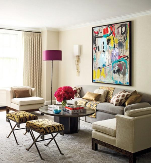 La peinture abstraite dans l 39 int rieur contemporain for Une salle de sejour