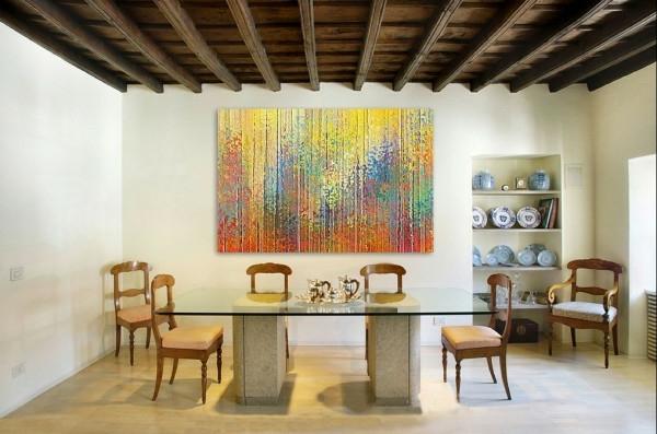 peinture-abstraite-salle-de-déjeuner-loft