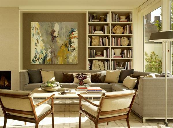 peinture-abstraite-une-bibliothèque-chaises-cosy