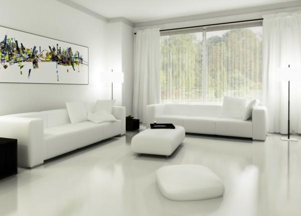 peinture-abstraite-une-chambre-à-coucher-blanche
