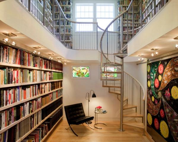 peinture-abstraite-une-grande-bibliothèque-et-un-escalier-tournant