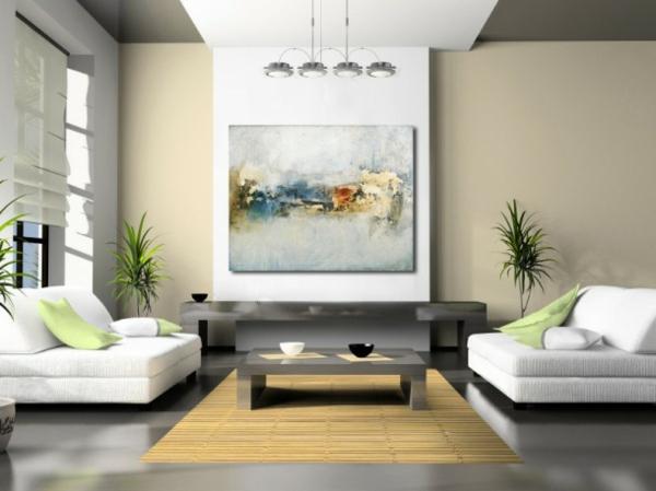 La peinture abstraite dans l 39 int rieur contemporain - Tableau decoration sejour ...