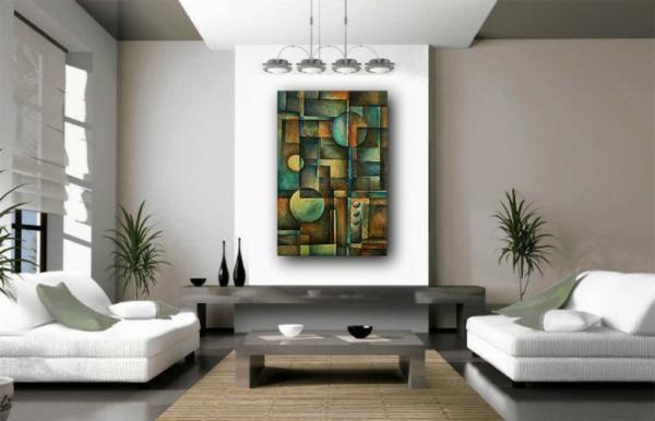 peinture-abstraite-verte-et-intérieur-blanc