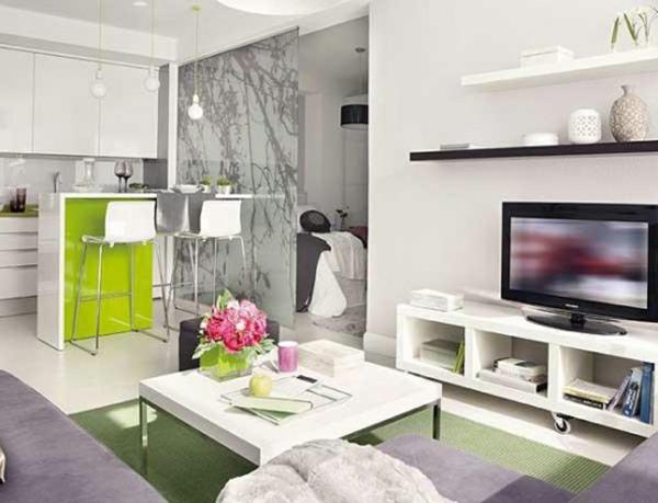 petit-studio-salon-en-blanc-et-vert