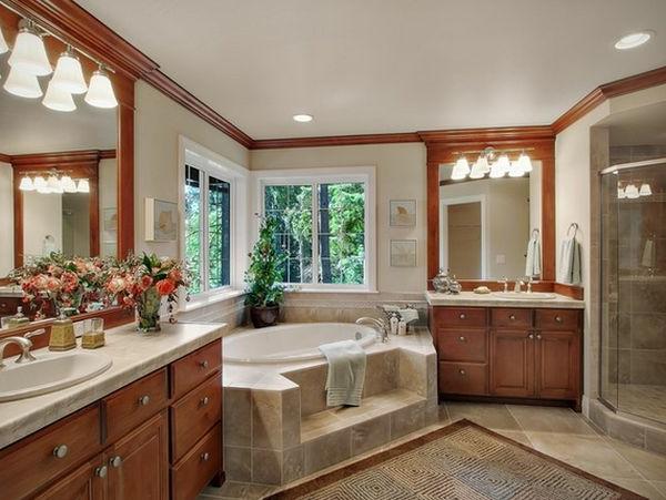 petite-baignoire-d' angle-ambiance-unique-mobilier-en-bois
