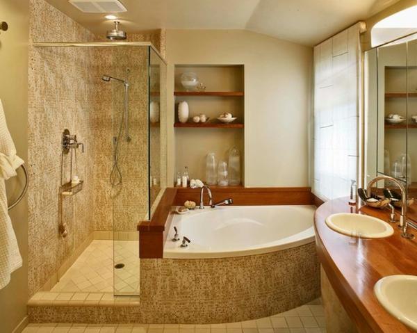 petite-baignoire-d' angle-cabine-de-douche-vasques-encastrées-un-grand-miroir-rectangulaire