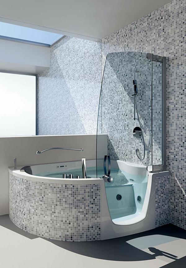 La petite baignoire d 39 angle est la princesse de votre salle de bains for Design de baignoire mosaique