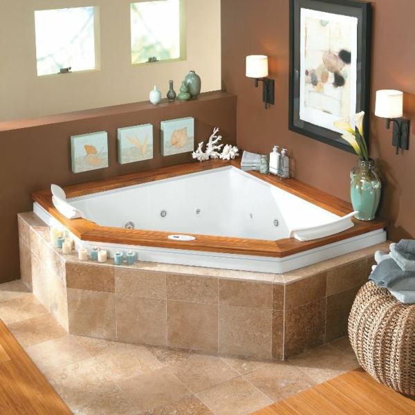 La petite baignoire d 39 angle est la princesse de votre for Petite salle de bain moderne avec baignoire