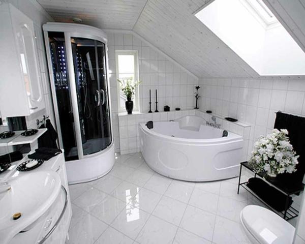 La petite baignoire d 39 angle est la princesse de votre for Salle de bain avec baignoire d angle et douche