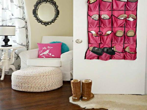 porte-chaussures-rose-en-textile