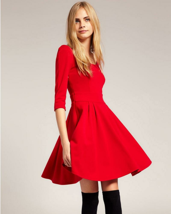 Robe patineuse rouge pas cher