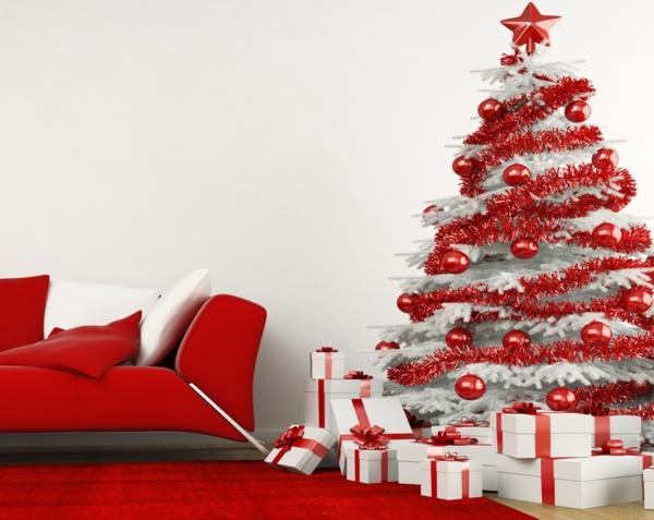 sapin-de-noel-blanc-décor-en-rouge-et-blanc