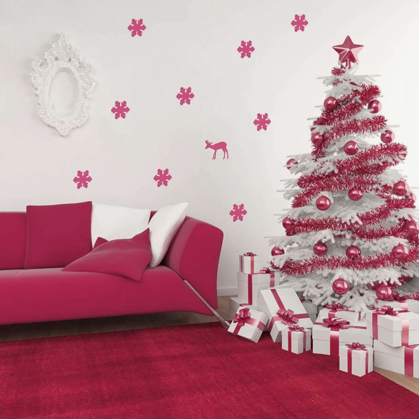 decoration sapin blanc et rose. Black Bedroom Furniture Sets. Home Design Ideas