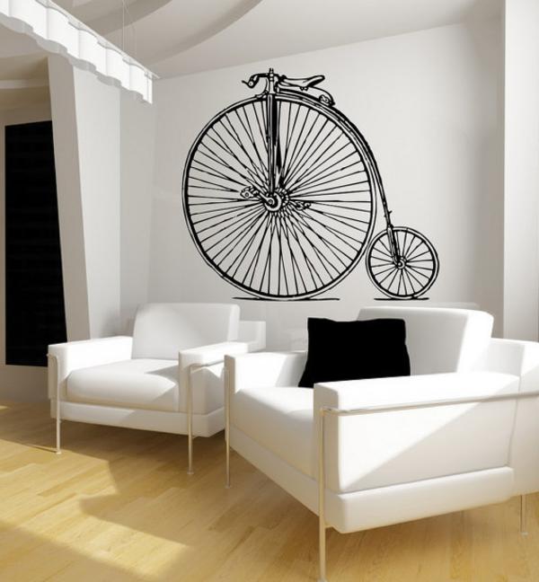 sticke-mural-vélo-retro-et-ameublement-blanc