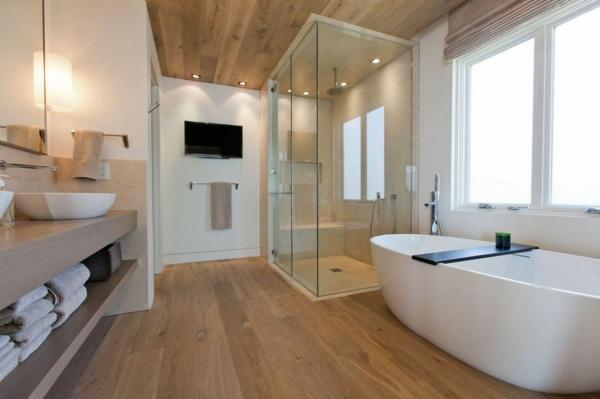 Meuble Salle De Bain Ikea Bleu : La déco de salle de bain en bois – 107 photos