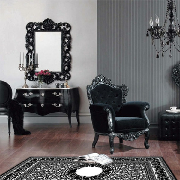suspension-baroque-mobilier-noir-vintage