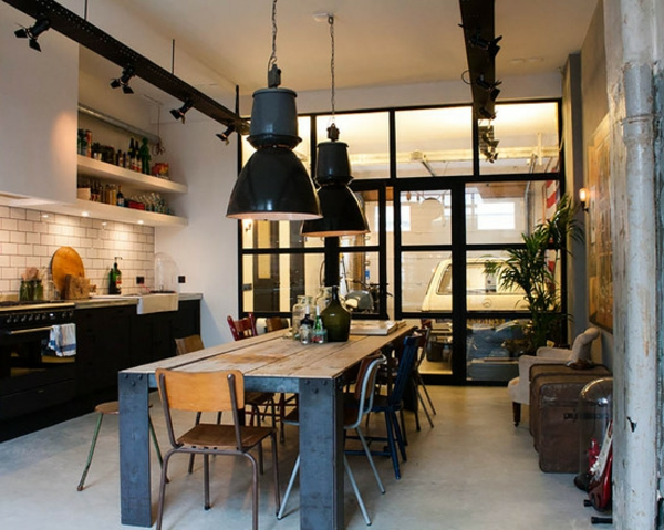 La suspension industrielle un l ment loft d co for Cuisine ouverte loft