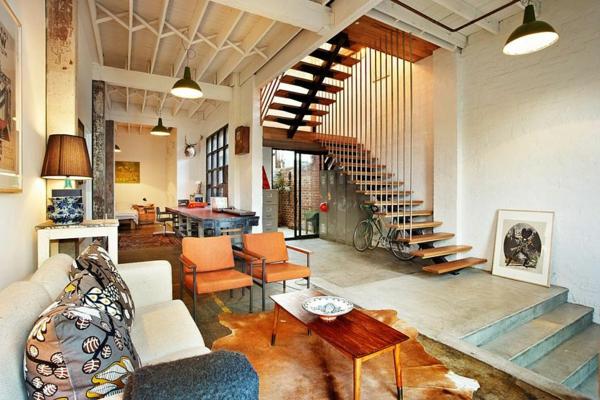 ... pendantes industrielles, escalier flottant, amménagement contemporain