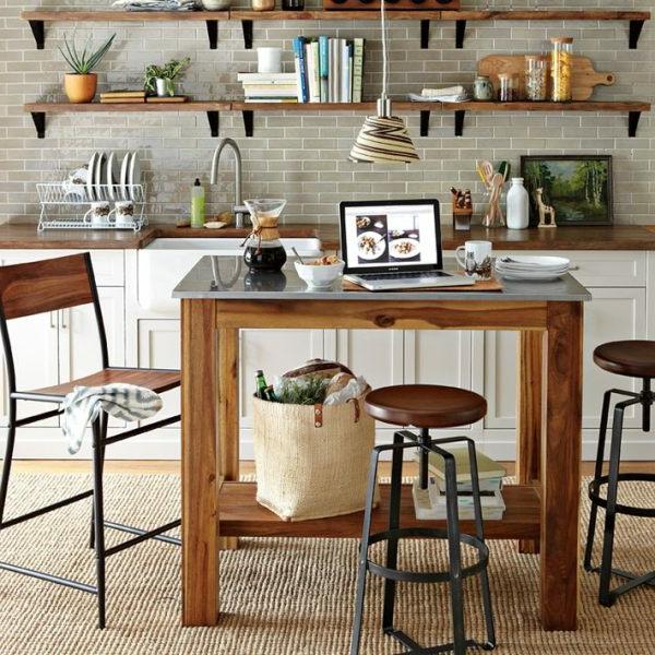 Le tabouret de bar industriel apporte une touche d co dans for Table haute cuisine bois