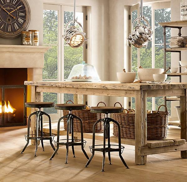 tabouret-de-bar-industriel-lampes-industrielles-un-poêle-et-une-table-rectangulaire