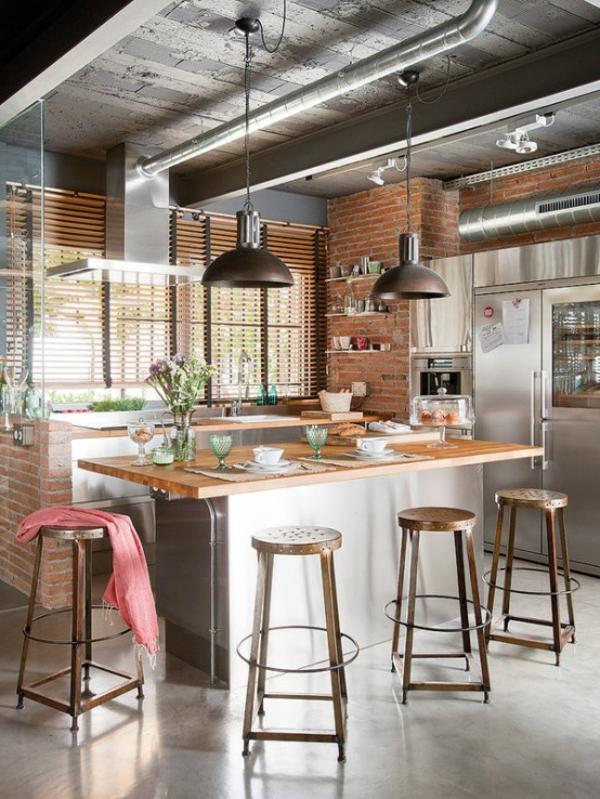 Le tabouret de bar industriel apporte une touche d co dans - Cuisine style atelier industriel ...