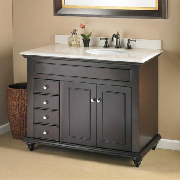 élégant-armoir-en-gris-avec-un-lavabo-blanc