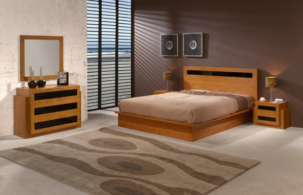 chambre complete en bois moderne. Black Bedroom Furniture Sets. Home Design Ideas