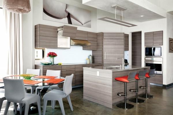 Un tabouret de bar color pour la cuisine moderne for Cuisine effet bois
