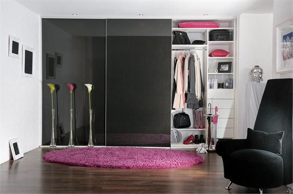 L 39 armoire avec porte coulissante pour la chambre a - Armoire coulissante noir ...
