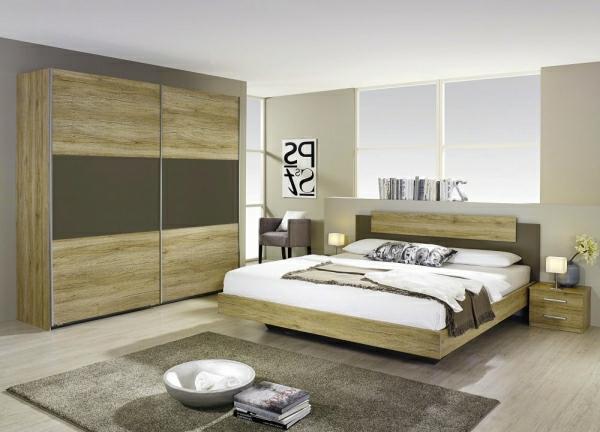 Moderne chambre coucher compl te - Chambre a coucher en bois hetre moderne ...