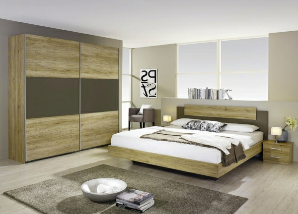 Moderne chambre coucher compl te for Chambre a coucher en bois moderne