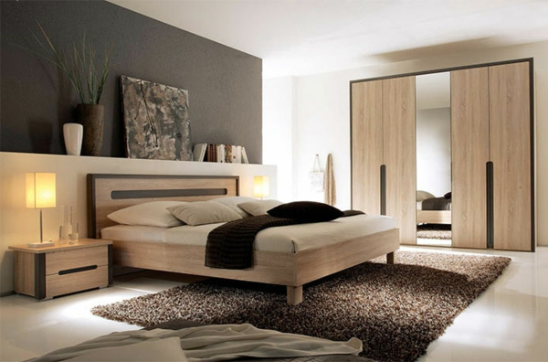 Moderne chambre coucher compl te for Chambre a coucher bois moderne