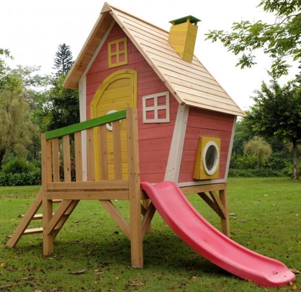 cabane-de-jardin-pour-enfant-en-rose-avec-un-toboggan