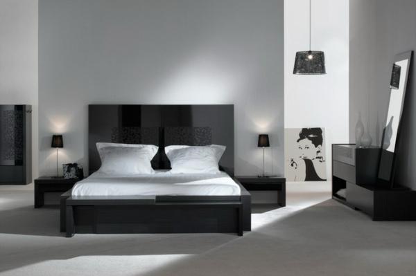 chambre-à-coucher-complete-et-lit-noir-pour-blanc-décoration-avec-un-peinture-et-lampe