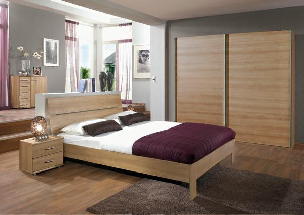 Chambre a coucher en bois hetre moderne for Chambre moderne en bois