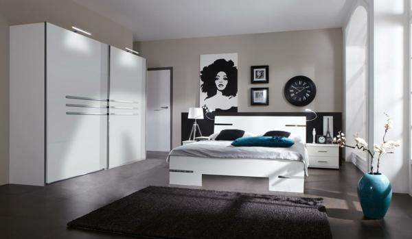 Moderne chambre coucher compl te - Chambre a coucher en noir et blanc ...