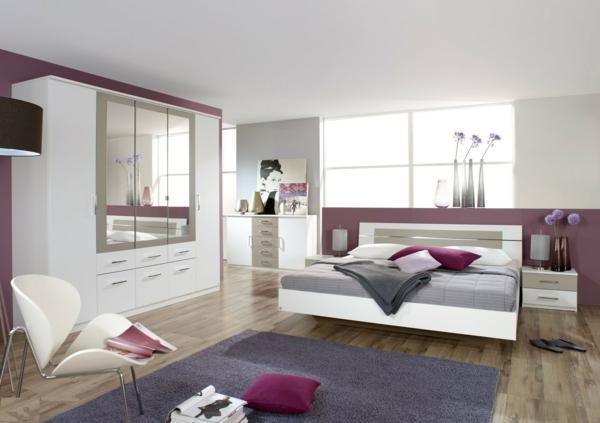 Moderne chambre coucher compl te - Chambre a coucher violet ...